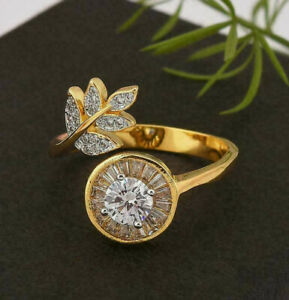 14K YELLOW GOLD FILLED ANNIVERSARY LEAF STYLE BYPASS HALO RING 1.42 CT DIAMOND