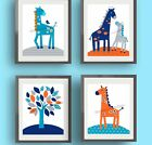 Blue and Orange Giraffe Nursery Wall Art Prints-Compliments Harper Bedding Decor
