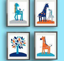 giraffe nursery wall art prints harper bedding navy blue orange decor pictures