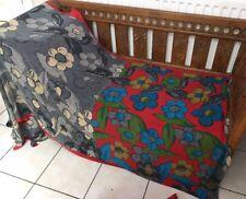 Vintage C&G ASHA Saree Contemporay Floral Print Red Grey Sari Fabric 6.75 Yards
