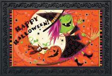 """Flying Witch Halloween Doormat Full Moon Indoor Outdoor 18"""" x 30"""" Briarwood Lane"""