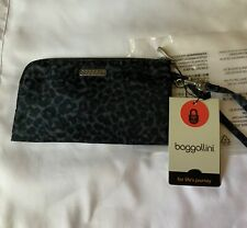 New With Tags Baggallini Small Zippered Clutch Gray Camo Print Rfid Security $25