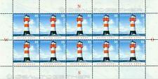 Leuchttürme auf Briefmarken 1 Zehnerbogen Roter Sand 2004 Mi.-Nr. 2410 neu