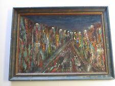 FINEST MARSHA FARLEY  PAINTING MODERNIST 1950'S POST IMPRESSIONIST CHICAGO NIGHT