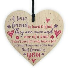 True Friend Friendship Sign Best Friend Plaque Gifts Chic Woods Hearts Thank You