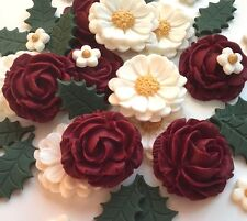 Christmas Cake Edible Decoration Topper - Red & Ivory Cream Rose & Holly