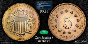 1879 Proof Shield Nickel PCGS Rattler PR-64 CAC