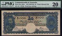 Commonwealth of Australia ND1933 £5 KEVIII PMG Certified VF20 R44a Pick# 23a
