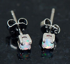 1 Pair 316L Surgical Steel Tiny 3MM White Color Fire Opal Earrings Ear Studs