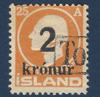 1926 ICELAND STAMP #149 OVERPRINT 2KR ON 25A WITH BAR CANCEL, RARE