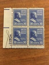 4 block of President Theodore Roosevelt 30¢ postage stamps. Good NH.  Scott #830
