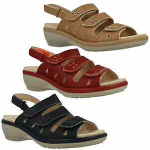 LADIES EASY B DB PENNY RIPTAPE STRAP OPEN TOE LEATHER WIDE FIT SUMMER SANDALS
