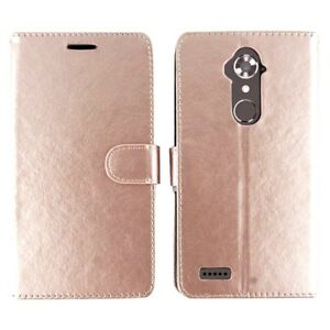 For ZTE Max XL, Blade Max 3, ZMax Pro, Max Duo LTE, Case Wallet Pouch Rose Gold