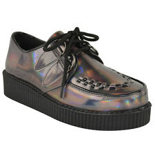 Fabulous Creepers Womens Green Suede Platform Wedge Lace up Punk Goth Shoes UK 5