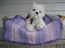 Fancy Dog Cat Bed Blanket Pink/Lavender Stripe w/ Lavender Sparkle Faux Fur Trim