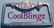 CRYSTAL JESUS Ichthus Fish Bling License Plate Frame made w/ Swarovski Elements