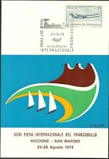 CARTOLINA FIERA FRANCOBOLLI RICCIONE SAN MARINO QUADRATO 1974 PITTORE CUMO