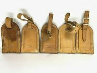 Auth LOUIS VUITTON Name Tag 5 Piece Set Brown Leather for Bag France ⑤