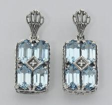 Art Deco Style Blue Topaz w/ Diamond Earrings - Sterling Silver - Free Shipping