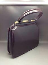 Vintage Smooth Brown Leather Handbag (Structured Frame) - Unknown Maker