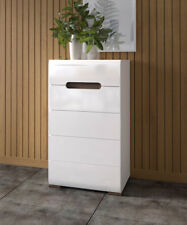 Modern Chest Of Drawers Tall White High Gloss 5 Drawers New Azteca