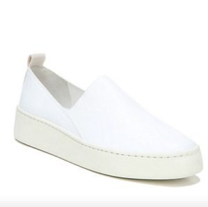 VINCE Saxon 2 White Napa Leather Slip On Sneakers Flats Shoes *NEW* $250