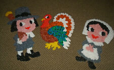 3 Vintage Melted Plastic Popcorn Thanksgiving Pilgrims and 15 inch Turkey