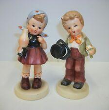 Pair of American Children - Girl w Oil Lamp Boy w Flower Bouquet - Made in Japan