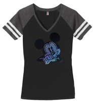 Women's Mickey Mouse T-Shirt Disney Ladies Tee Shirt S-4XL Bling V-Neck