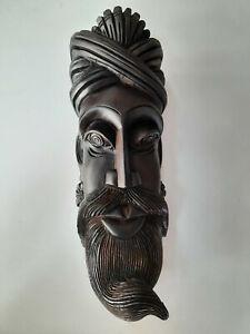 Wooden Mask Village Man Handmade Wall Hanging Sculpture Home Decoration Art