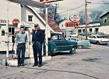 SOHIO BORON GAS STATION  PUMPS OWNER ATTENDANT MID 1950'S CARS COCA-COLA  5x7