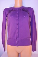 Whistles Embellished Purple Cardigan Size 1 6 8 Cotton Sequins Beaded Summer BD