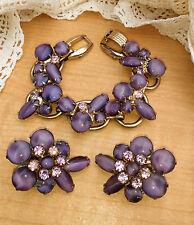 Gorgeous Juliana D&E Bracelet Purple Lavender Cabochon Moonglow Jewelry Set