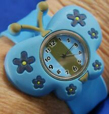 SLAP WRIST BUTTERFLY BLUE BAND SILVER TONE WATCH, INTERCHANGEABLE  820 A10
