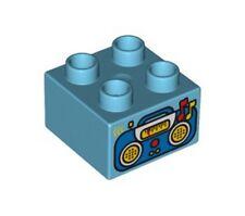 LEGO - Duplo Brick 2 x 2 with Radio / Boombox Pattern - Medium Azure