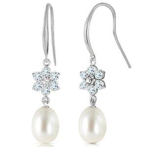 14K Solid White Gold Fish Hook Earrings w/ Diamonds, Aquamarines & Pearl