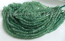 """8"""" half strand AAA GREEN KYANITE faceted gem stone rondelle beads 3mm - 4.5mm"""