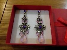 Brand new antique silver look earrings with pink and purple crystals + gift box