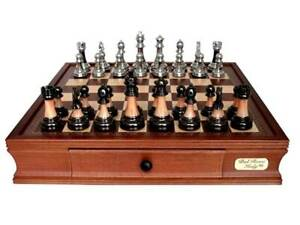 Quality Timber CHESS DAL ROSSI METAL/MARBLE Family Board Game with Draw Gift