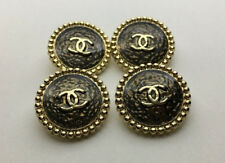 Chanel Buttons Set of 4 Bronze Enamel and Gold Color