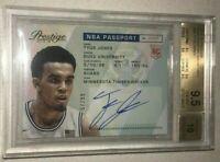 2015 RC Panini Prestige NBA PASSPORT Signatures /99 Tyus Jones BGS 9.5 Auto 10