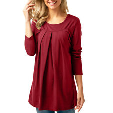 Women Long Sleeve Tunic Tops O-neck Casual Loose Pleated T-shirt Blouse NYS