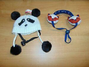 Dog Panda Hat and Ear Muffs Size Small