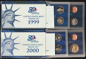 1999 and 2000 Clad Proof Sets, OGP & COA