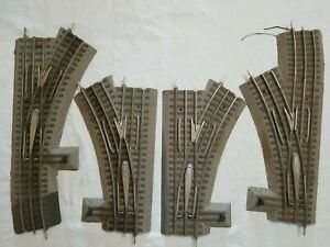 2 PAIR LIONEL FASTRACK MANUAL SWITCHES 6-12017 RIGHT & 6-12018 LEFT HAND - USED