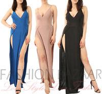 New Womens Double Thigh Leg Split Long Slinky Prom Wedding Party Cami Maxi Dress