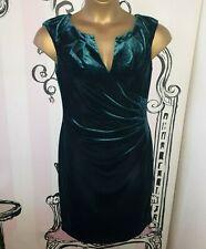 BNWT RRP£120 Size 10 Adrianna Papell Velvet Side Drape Hunter Forest Green Dress