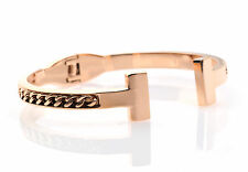 Solid Bracelet Stainless Steel Rose Gold Plated with Chain UK