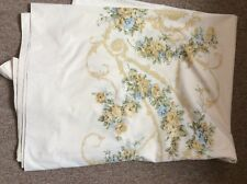 Vtg Utica J.P. Stevens Floral scrolled Ivory Full Flat Percale Sheet Free Ship