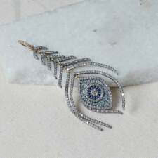 Diamond Blue Sapphire,Blue Topaz Gemstone Feather Pendant 925 Silver Jewels SA